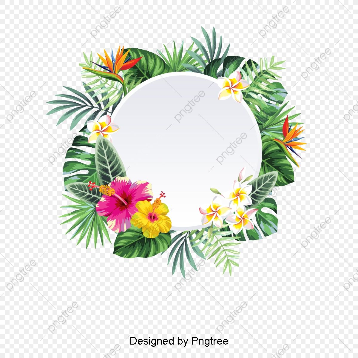 Vector Wreath Element Tropical Flower Leaves Trim Tabs Png Transparent Clipart Image And Psd File For Free Download Tropical Wreath Tropical Flowers Flower Backgrounds