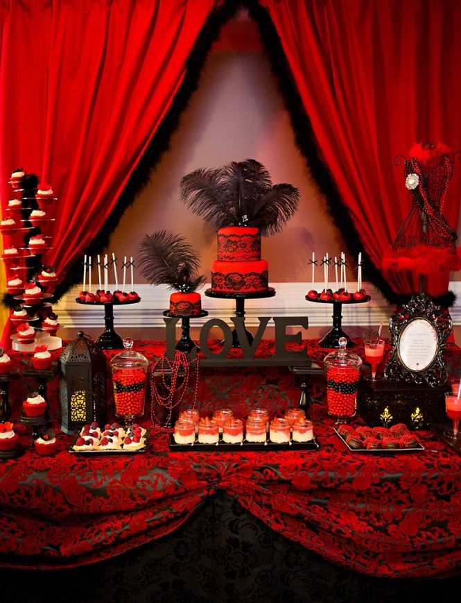 Hot Red And Black Bridal Shower Dessert Table Mondeliceblog