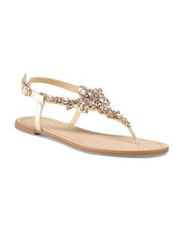 Flat Rhinestone Sandal - Shoes - T.J