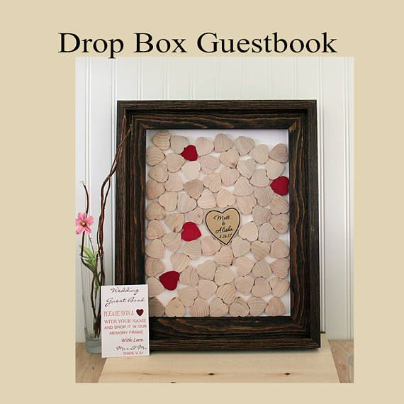 Guestbook Drop Box Hearts Frame Top Wedding Guest Book Alternative Topdrop