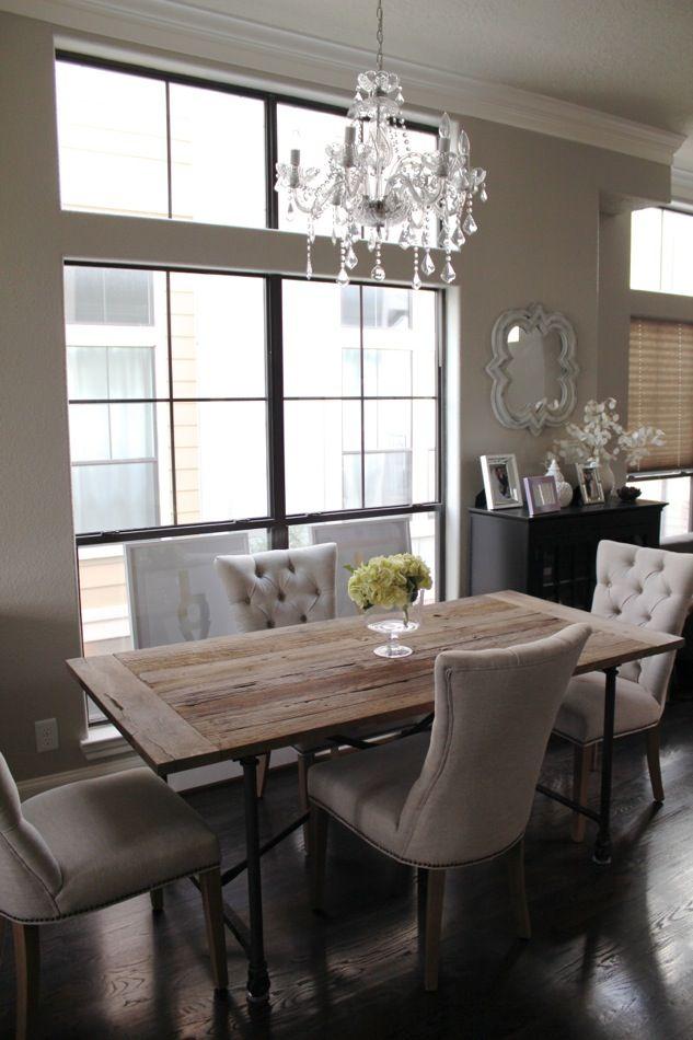 Veronikas Blushing Home Updates Restoration Hardware Curtains For The Kitchen Dining Room Chandelier
