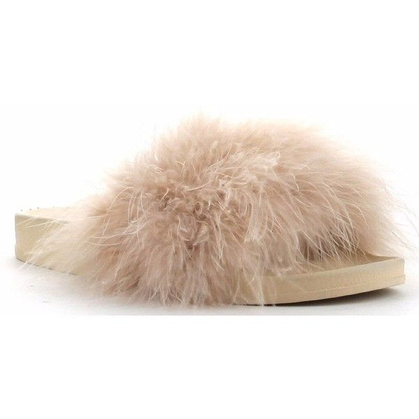 0ba958ab21d6 Cape Robbin Moira-2 Women Flip Flop Marabou Fur Slide Slip On Flats...  ( 28) ❤ liked on Polyvore featuring shoes