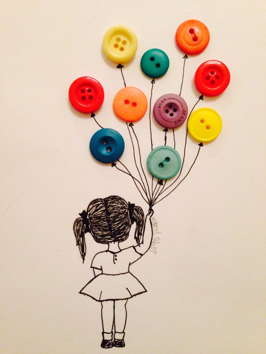 Drawing Of A Little Girl Holding Balloons Buttons Art
