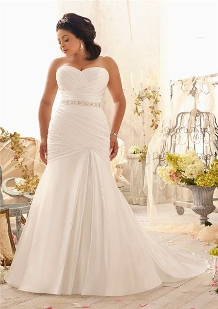1ed3fd71ab9 Mermaid Sweetheart Corset Back Ruched Satin Plus Size Wedding Dress With  Pearls Sash