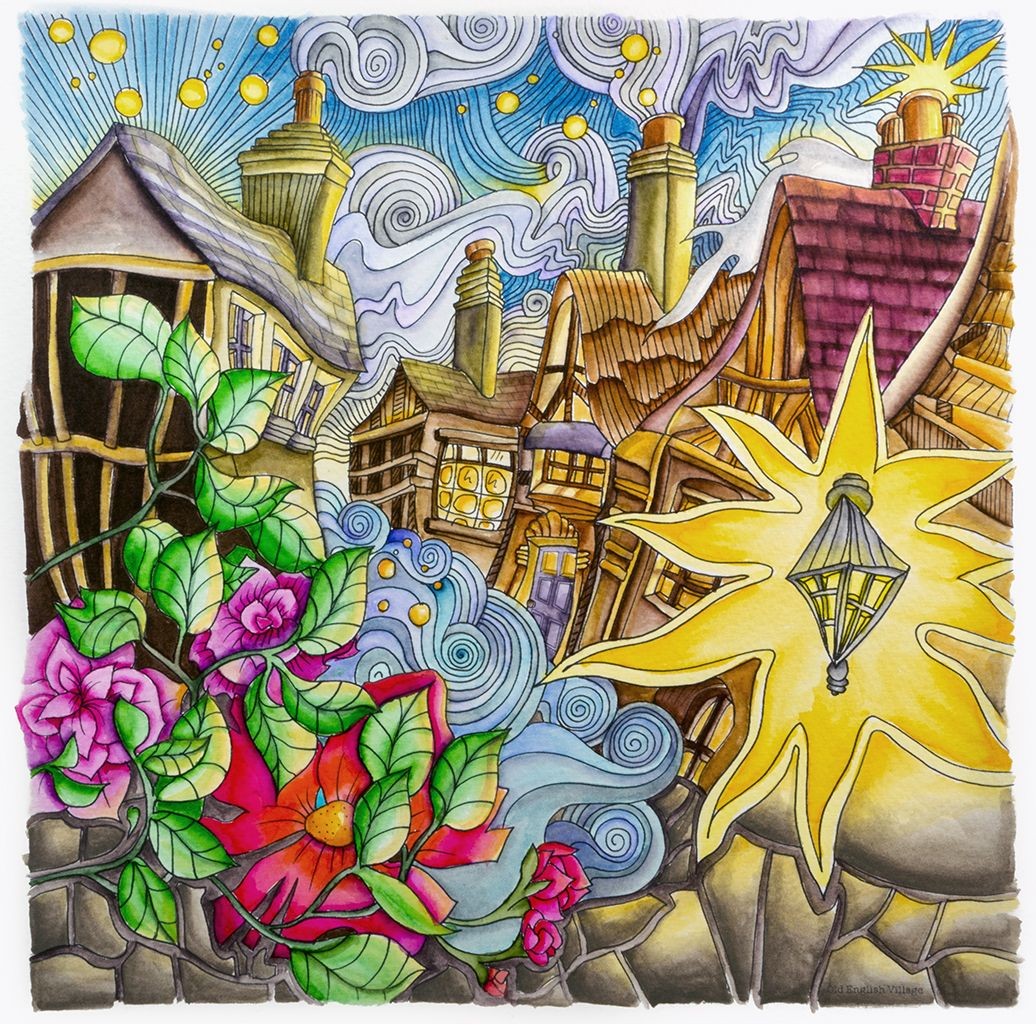 Th the magical city colouring in book -  Old English Village From Lizzie Mary Cullen S Book Magical City Colored By