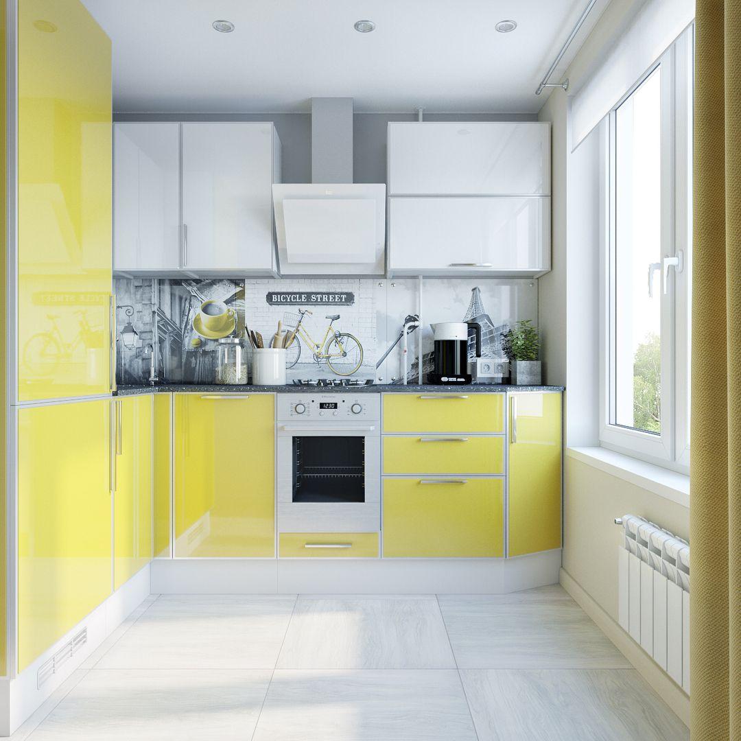 Светлая и жизнерадостная кухня. Желто-белые глянцевые фасады, фартук ...