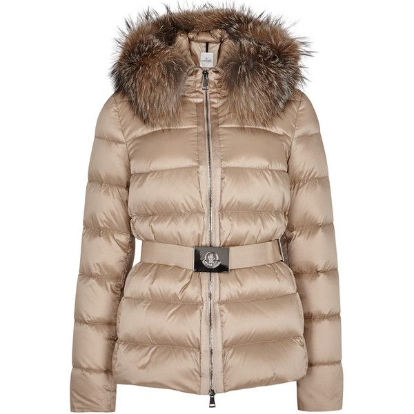 Moncler Tatie latte fur-trimmed jacket (£1,050) ❤ liked on Polyvore featuring outerwear, jackets, zipper jacket, padded jacket, hooded jacket, monc…
