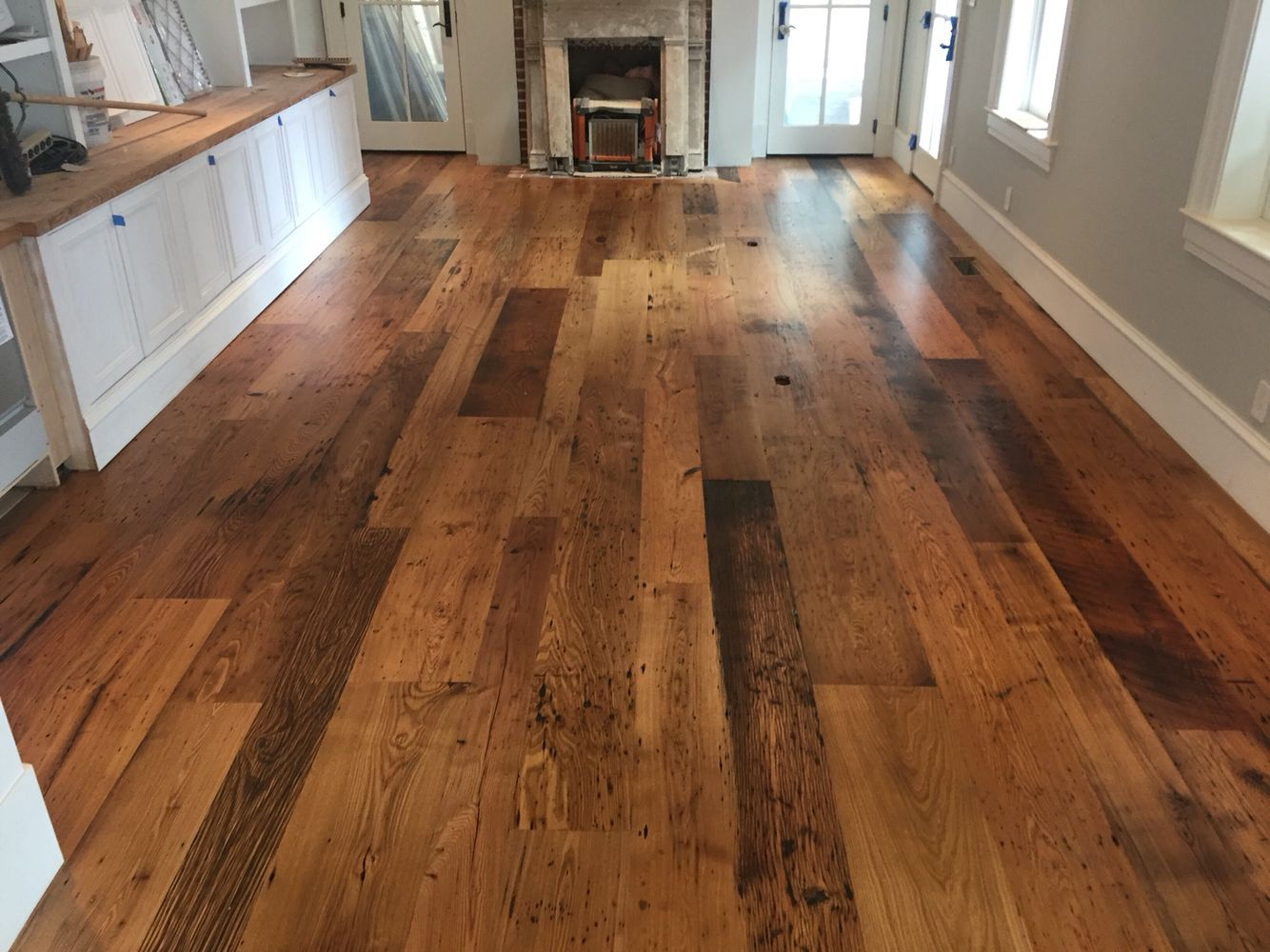 Locally Milled Wide Plank Reclaimed Chestnut Flooring Finished