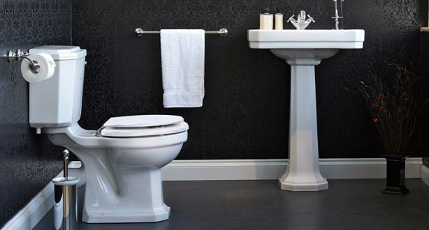 Art Deco Basin On Pedestal And Toilet.