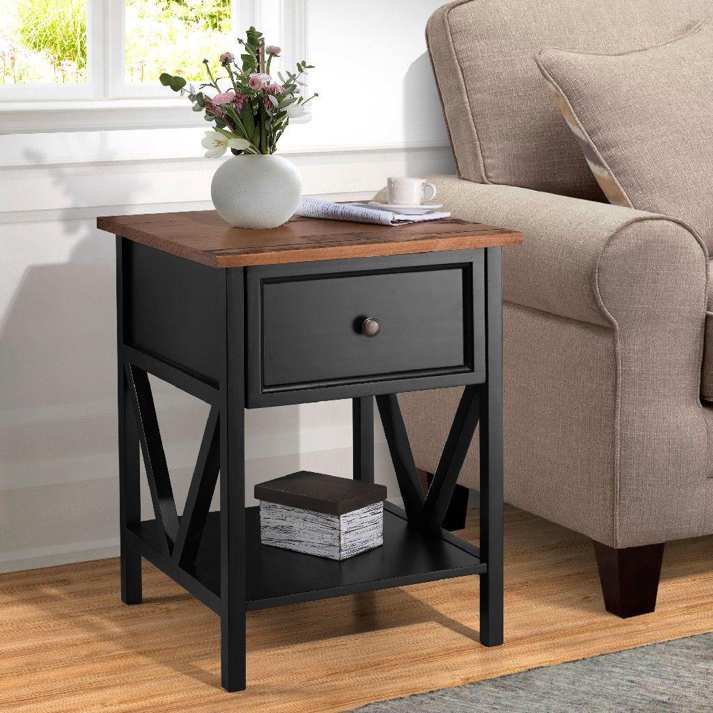 19 1 Drawer Wood Side Table In Reclaimed Barnwood Black Walker Edison Af19natstbro In 2021 Black Side Table Living Room Side Table Wood Living Room Side Table