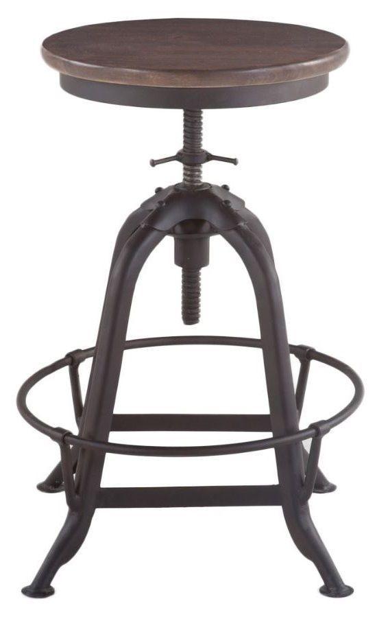 Iron Metal Swivel Bar Stool Kitchen Chair Adjustable Seat Wood