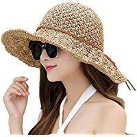 129aa108b Women Floppy Hat Hollow Straw Hat Wide Brim Beach Hat Sun Hat can be ...
