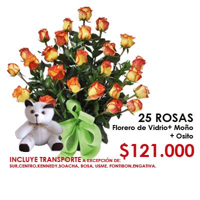 Promoción Mambo 121000 25 Rosas Bicolor Florero De