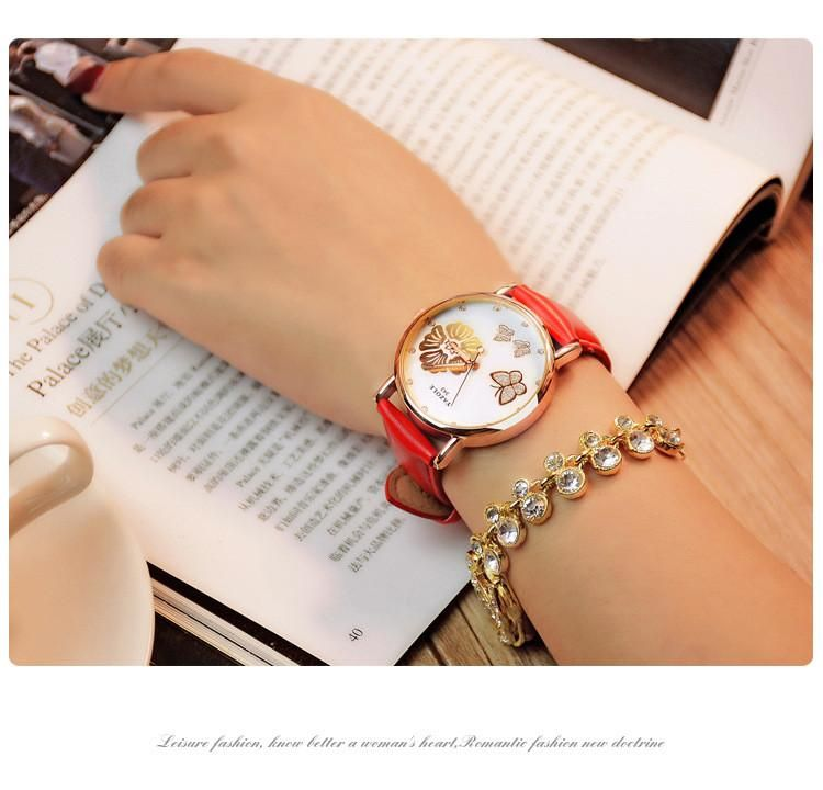 369677612df Classic Butterfly Flower Bling Genuine Leather Quartz Wedding Wristwatches  Item Type  Quartz Wristwatches Case Material