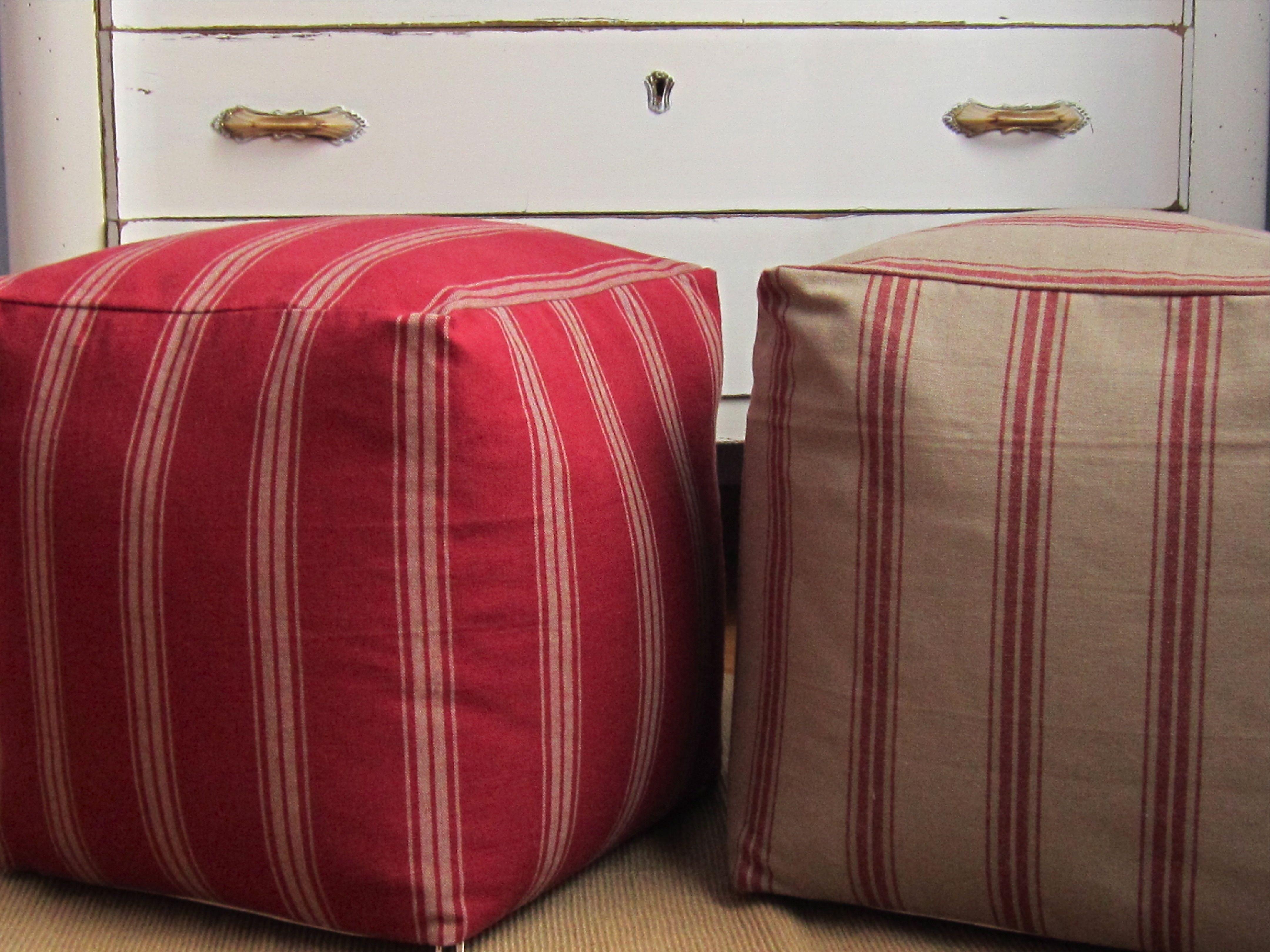 Tavolino Poggiapiedi ~ Pouf grain sack 40x40x40 pouf rigato pouf rustico pouf rosso