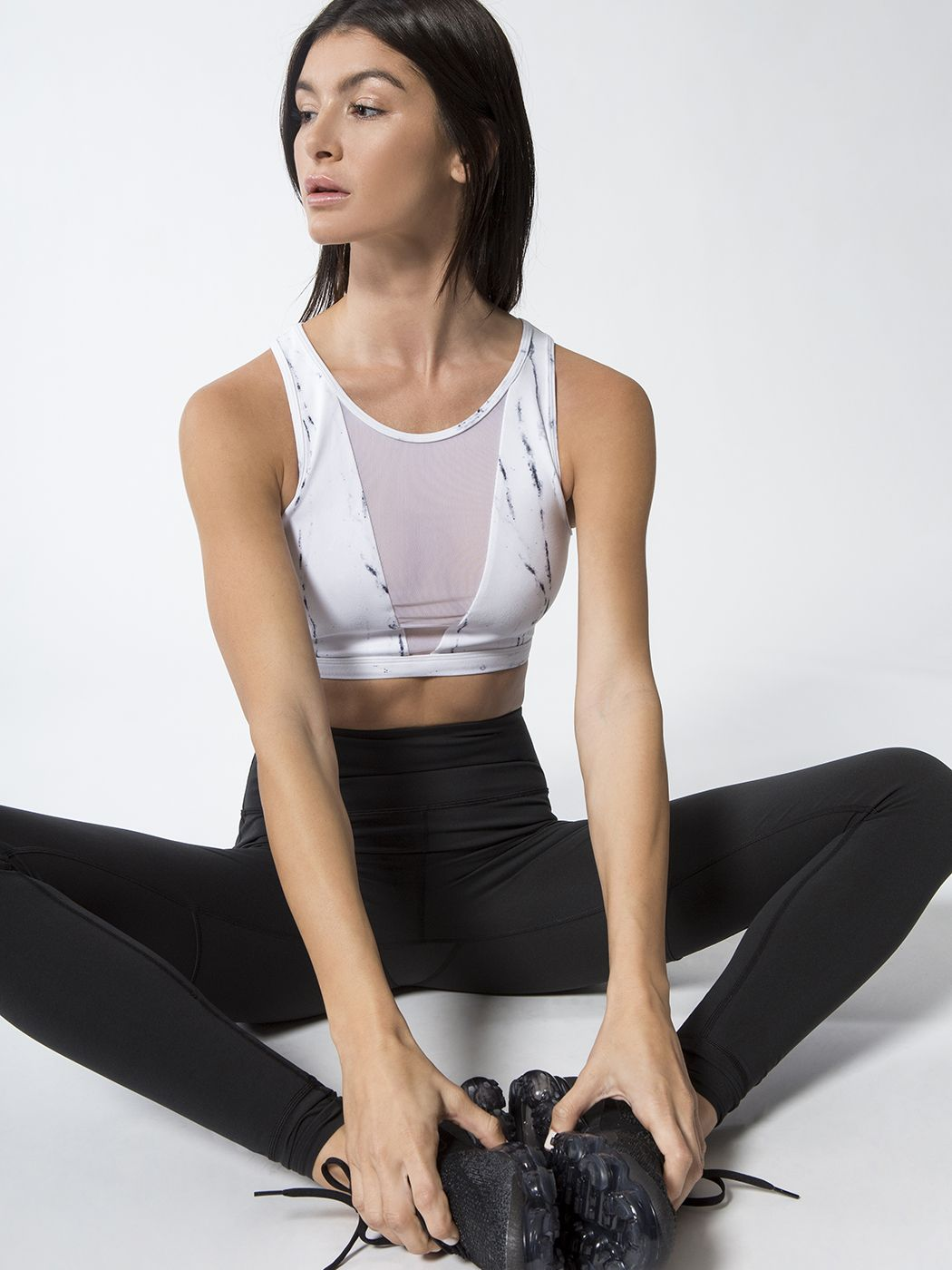 Terri Medium Support Sport Bra in Ink Marble by Varley from Carbon38