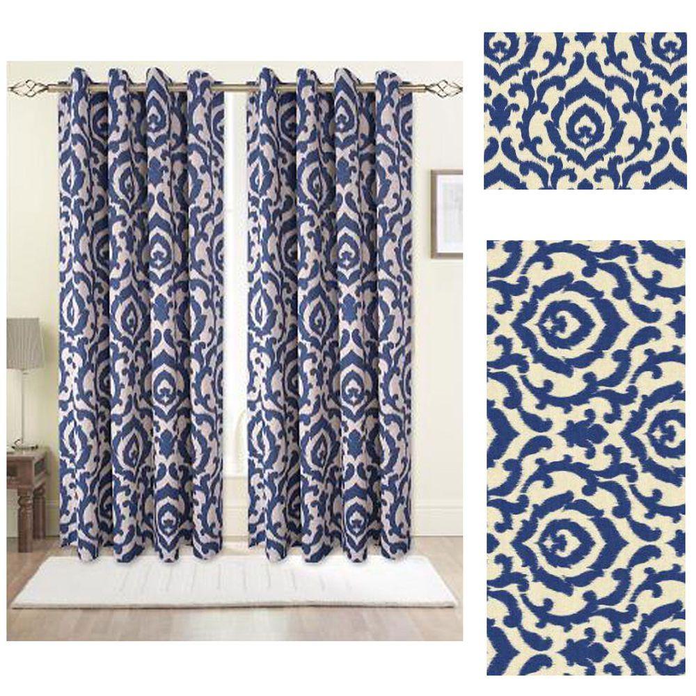 Blue eyelet printed lined curtains last few sahara x