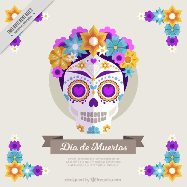 crânio bonito fundo com as flores coloridas no design plano Vetor grátis 497ebf11336