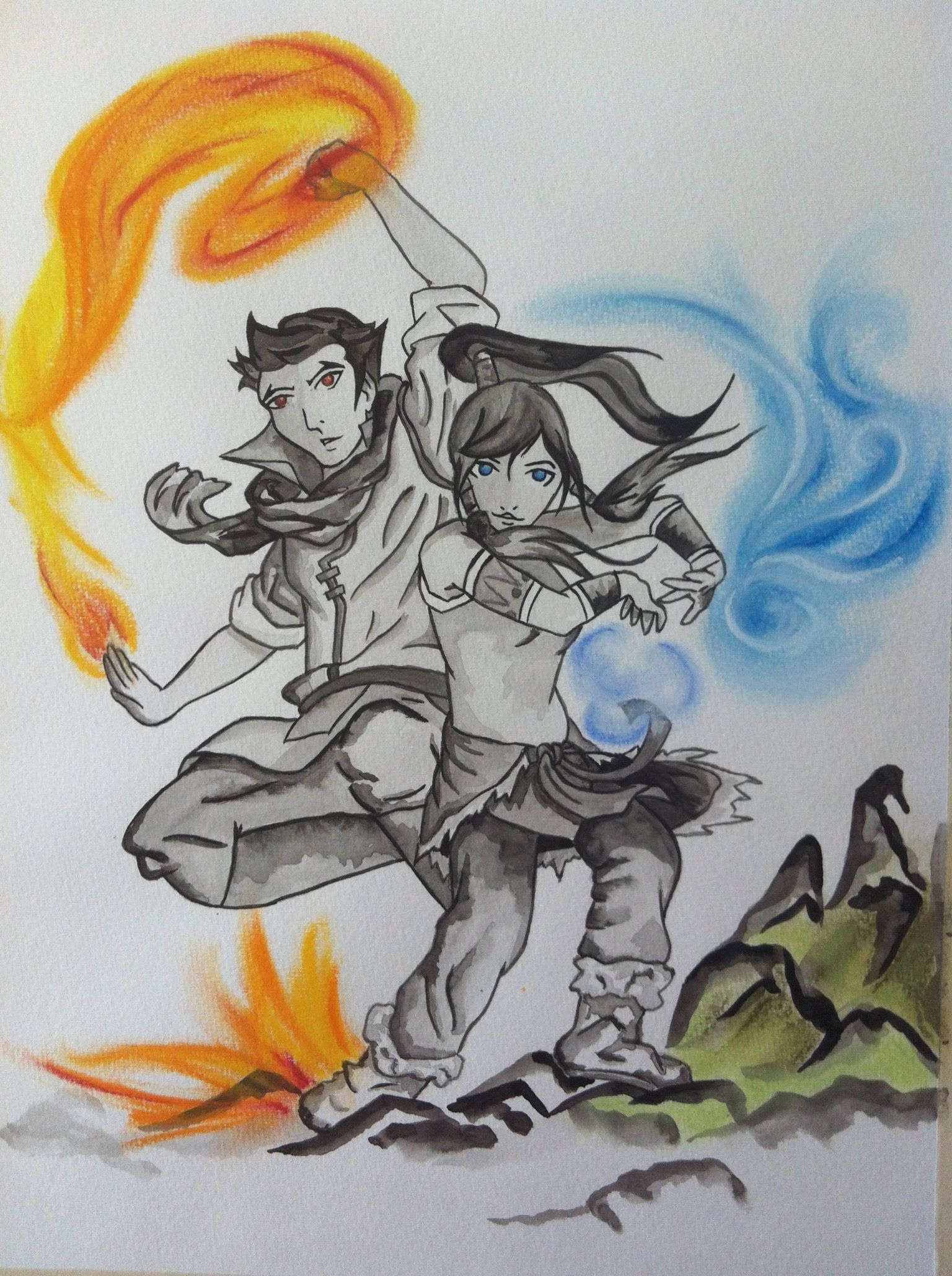 Color art facebook - Korra And Mako Water Color And Pastel Avatar Korra For More Go To