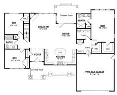 Plan 19530JF: Split Bedrooms For Privacy | Craftsman ranch, Ranch ...