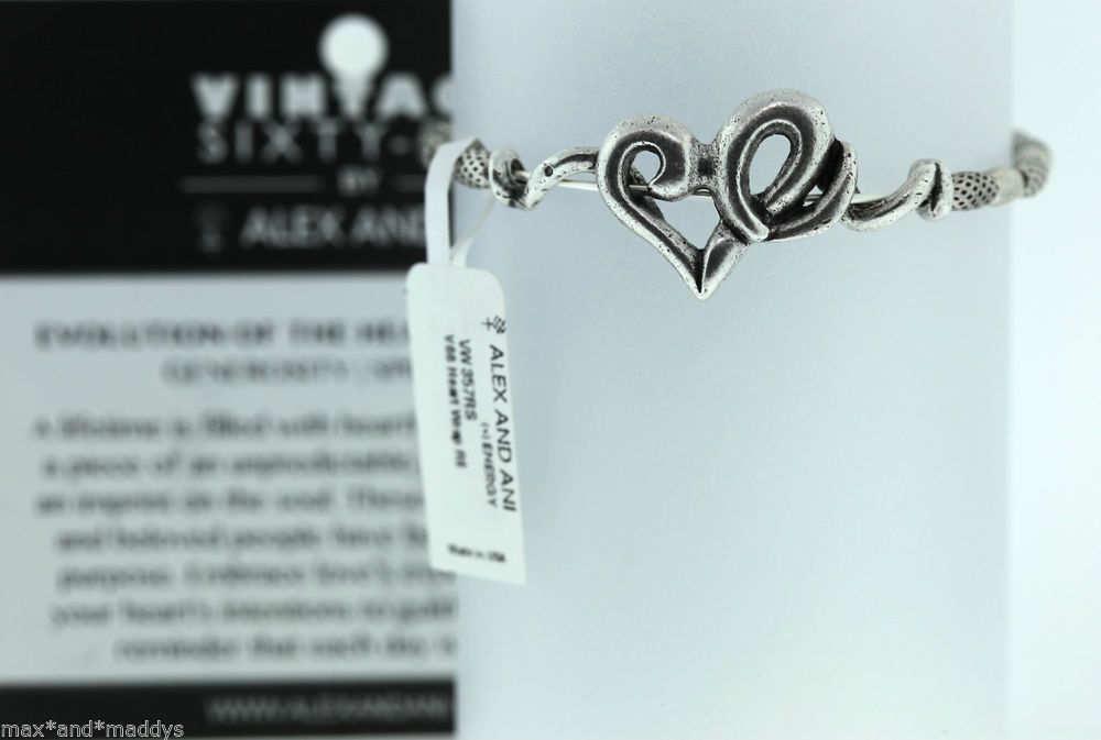 Alex and Ani Russian Silver HEART Wrap Vintage 66 NWT & Card GORGEOUS
