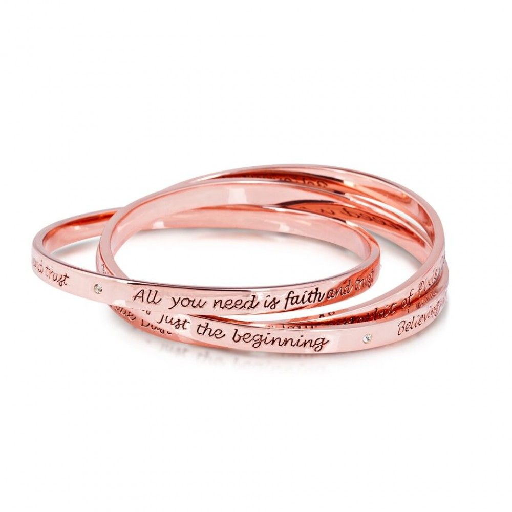 Disney Rose Gold-plated Triple Interlocking Tinkerbell Message ...