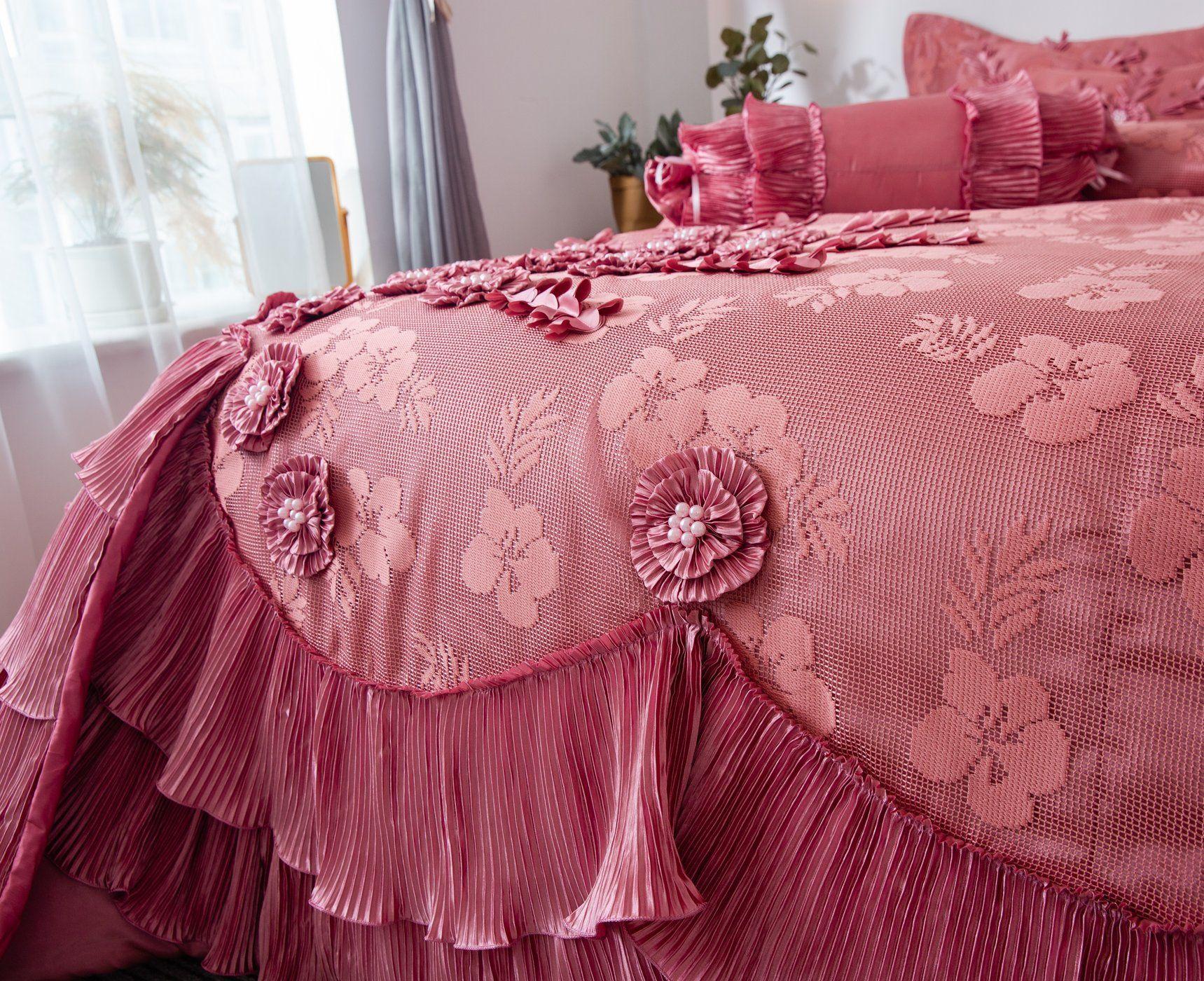 Tache Floral Royal Princess Dream Solid Pink Ruffle Comforter Set