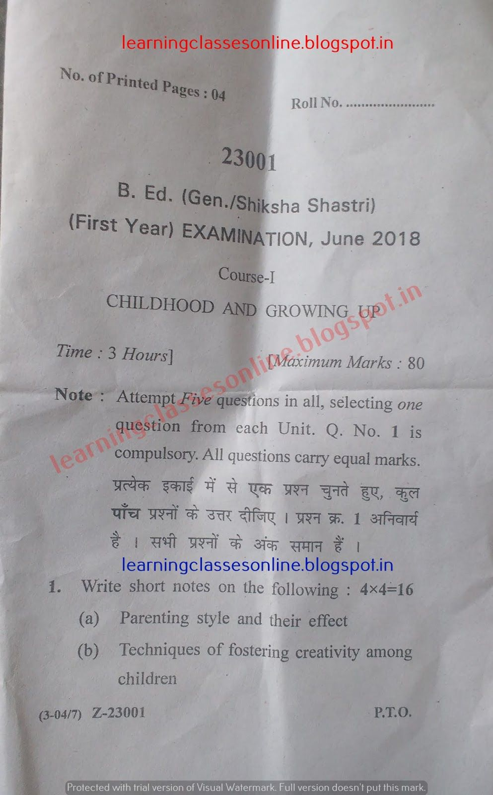 2018 BEd 1st year question papers of Childhood and Growing