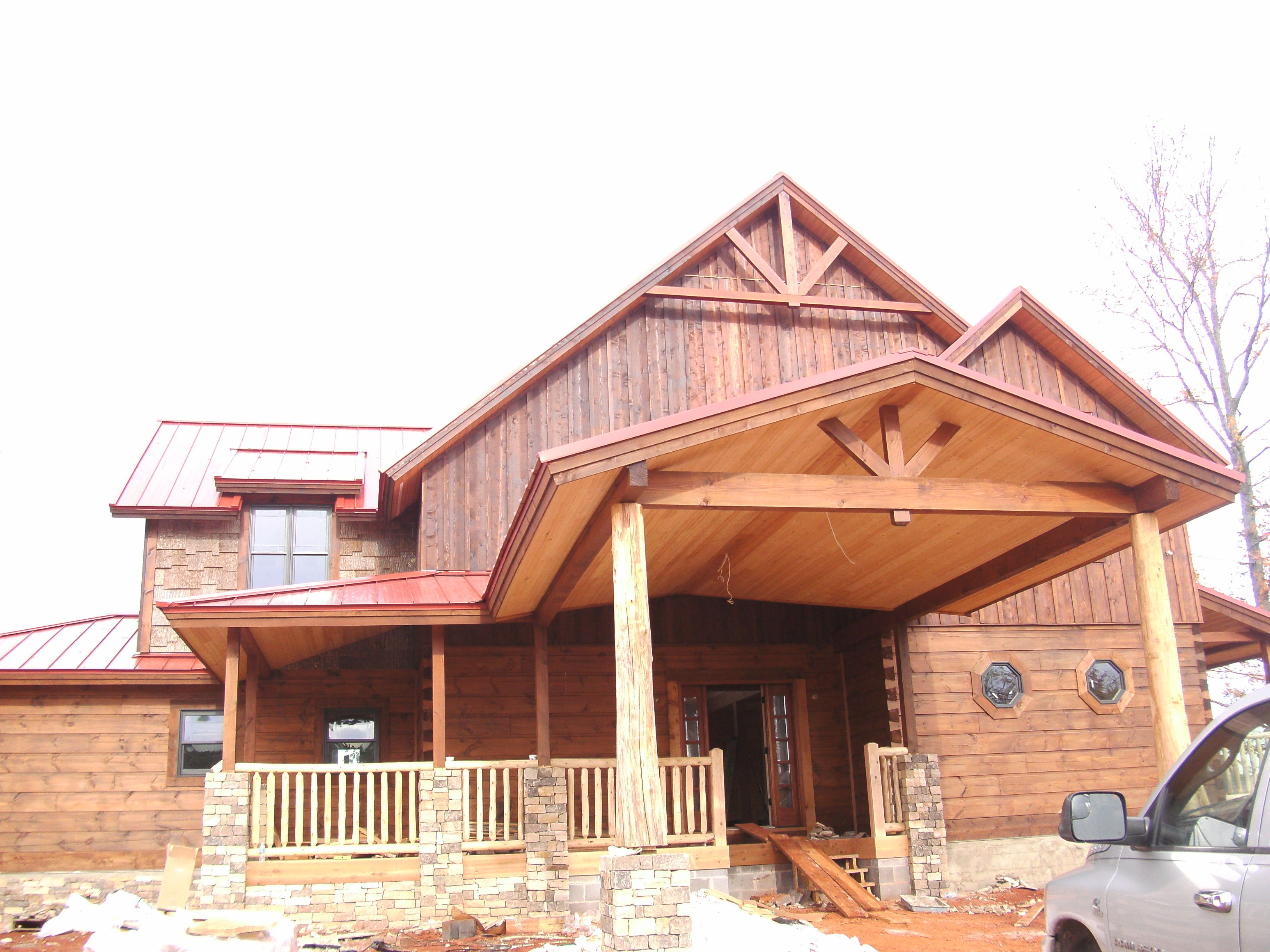 Popular bark in gable board and batten gable solid log for Craftsman style log homes