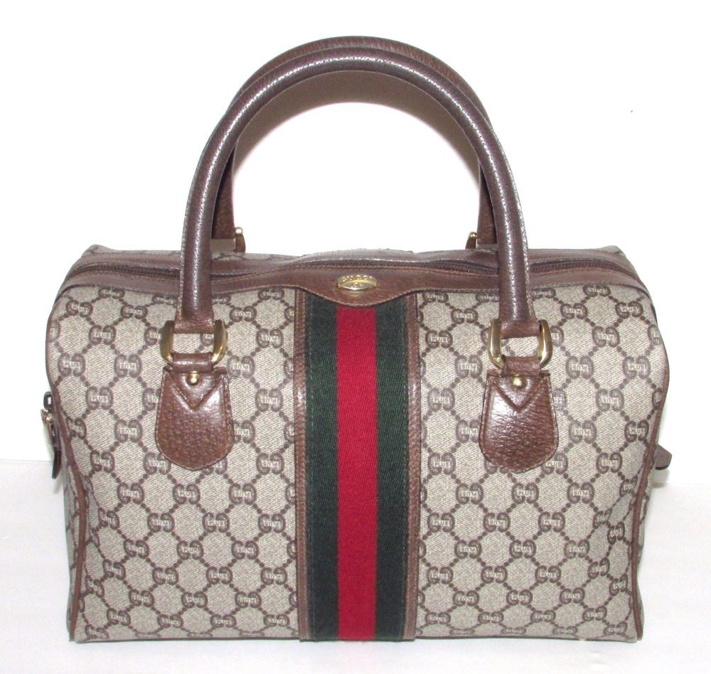 Authentic Vintage GUCCI PLUS Web Boston Doctor Bag Speedy Purse Handbag   Gucci  Doctor dcac3a4100a