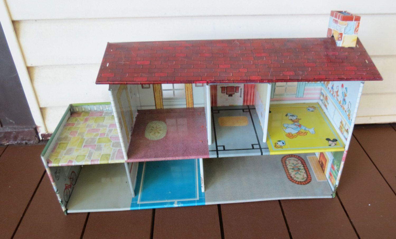 Vintage Mar Marx Metal Dollhouse Disney Nursery Patio Litho Lithograph By Kansaskardsstudio On Etsy