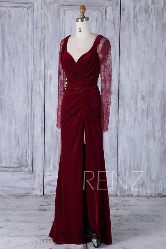 479ccb95d0d3b Bridesmaid Dress Wine Velvet Ruched Bodice Wedding Dress   Mardi ...