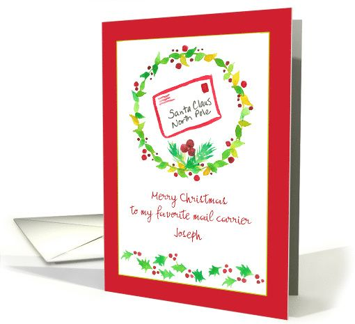 Merry Christmas Postal Mail Carrier Holly Custom Name Card Holiday Cards Merry Christmas Christmas Cards