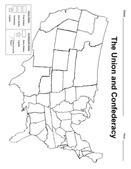Civil War Map   civil War   Middle school history, Map activities ...