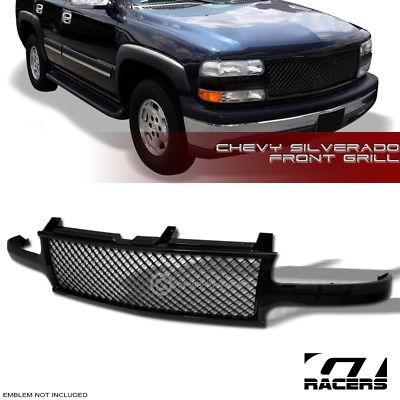 Black Luxury Mesh Hood Bumper Grill Grille Guard Cover 2000 2006 Tahoe Suburban Chevy Trucks Lifted Chevy Trucks Jacked Up Trucks