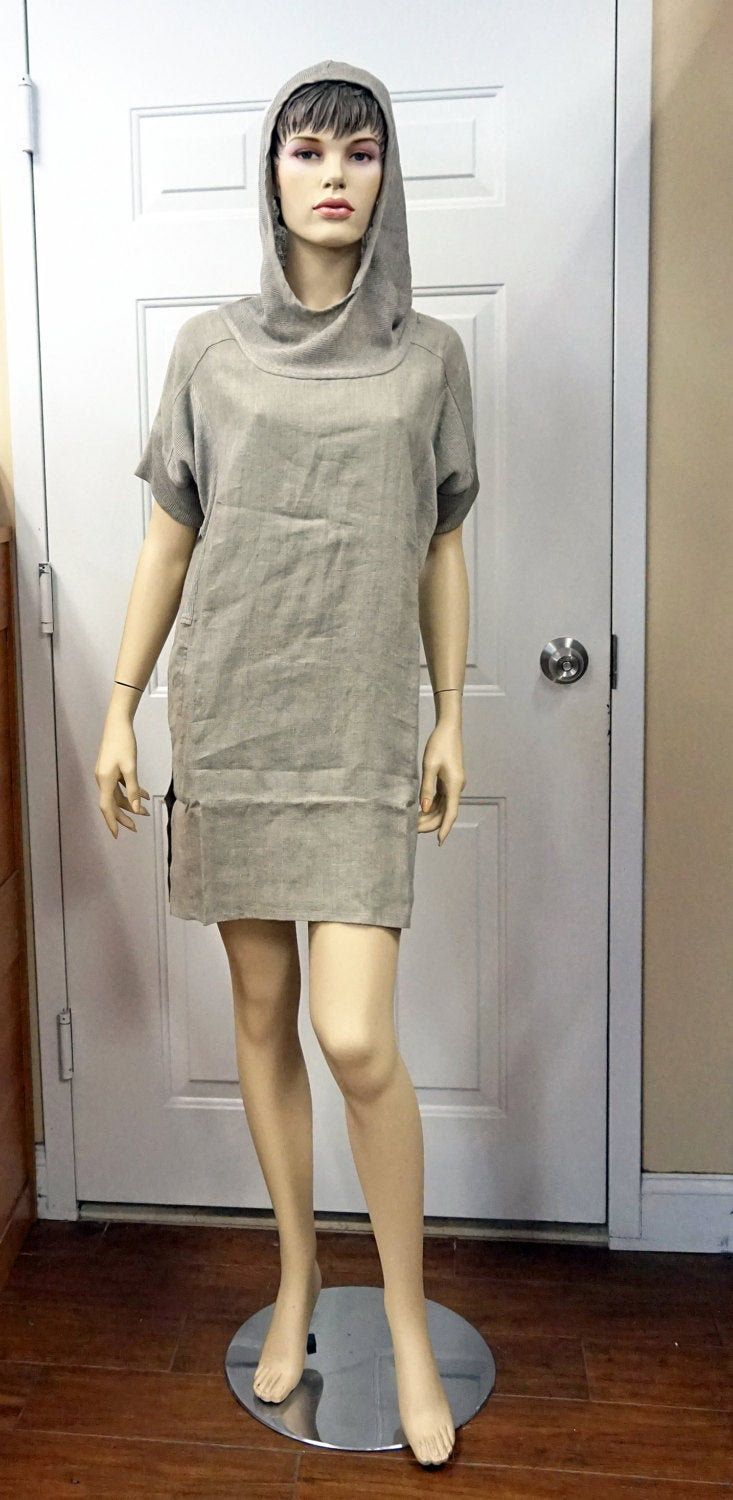 RAW LINEN DRESS With Hoodie Gray Linen Tunic Dress Short Sleeves Flax Summer Short Dress Pockets European Linen Tunic Gift For Girl Xs S #linentunic