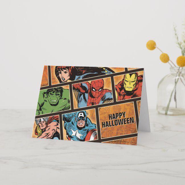 Marvel Hero Halloween Comic Panels Card #marvel #vintage #classic #halloweencomic #black #Card