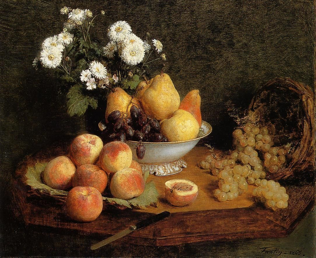 Flowers and Fruit on a Table, 1865, Henri Fantin-Latour