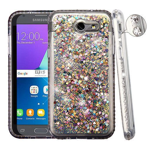 newest e732a be6fb $10.99 - Diamante Frame Sand Glitter Hybrid Cover Phone Case For ...