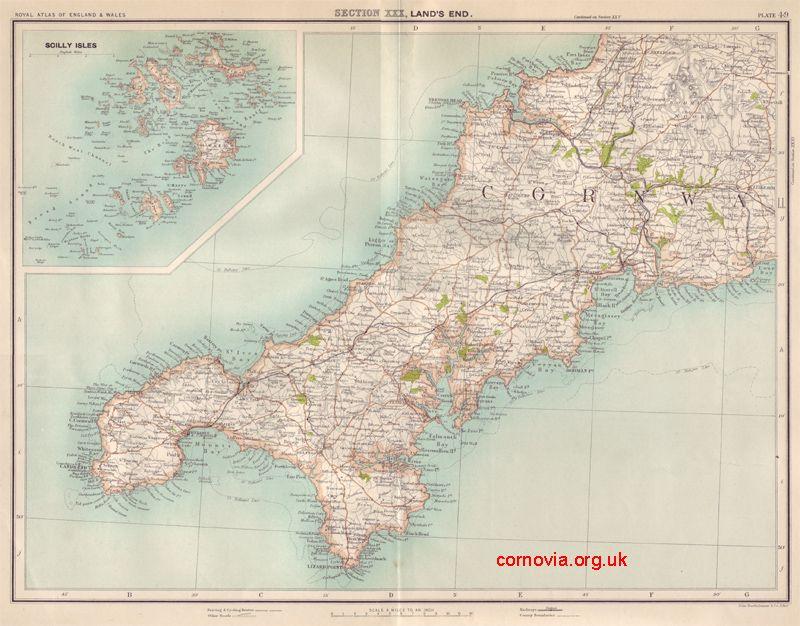 Map of cornwall by john george bartholomew 1898 taken from the map of cornwall by john george bartholomew 1898 taken from the royal atlas of england gumiabroncs Gallery