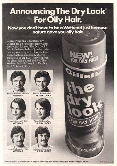 Gillette Dry Look Hairspray For Men 1973