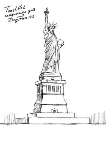 How To Draw The Statue Of Liberty Step By Step 5 Sketsa Gambar