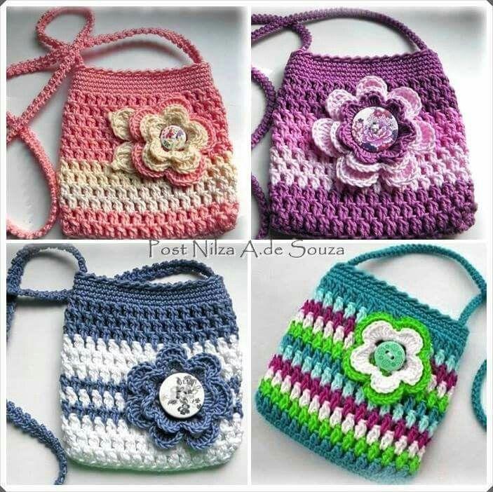 Torebeczki Crafts Pinterest Crochet Crocheted Bags And