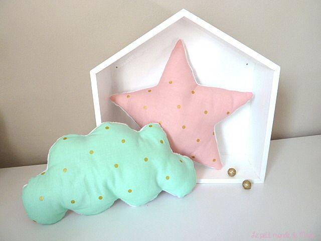 Coussin nuage et coussin étoile mint rose et doré : Textiles et ...
