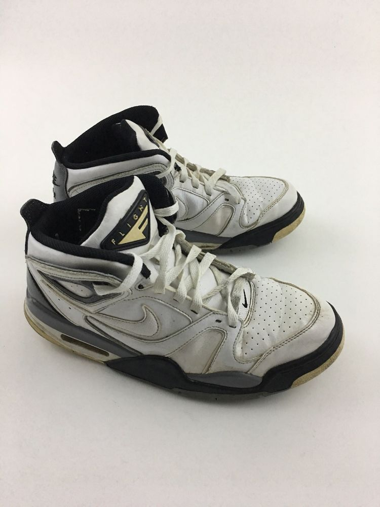 9d969890b3ca Nike Air Flight Falcon 397204-102 Basketball Shoes Mids White Black Men s  Sz 8.5