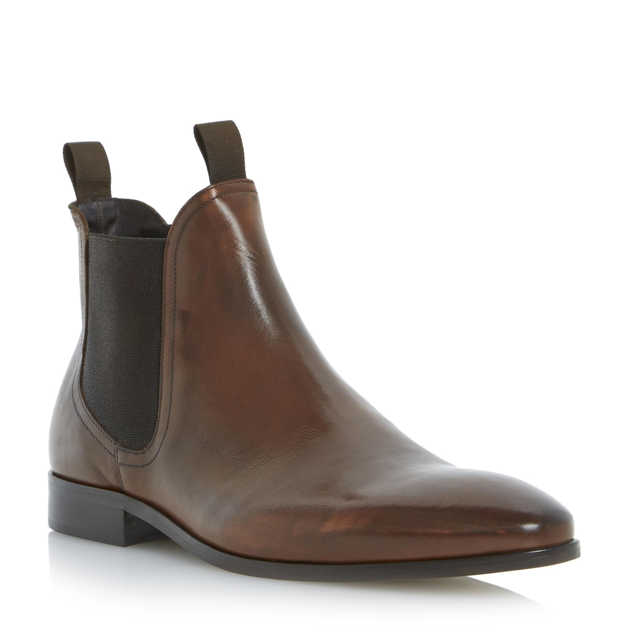 DUNE MENS MUGGLES  Double Tab Leather Chelsea Boot  tan | Dune Shoes  Online