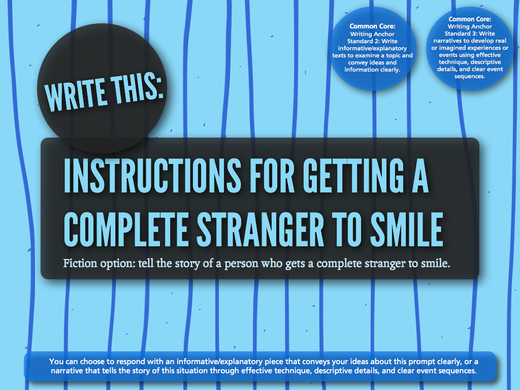 693 instructions for getting a complete stranger to smile [This one ...