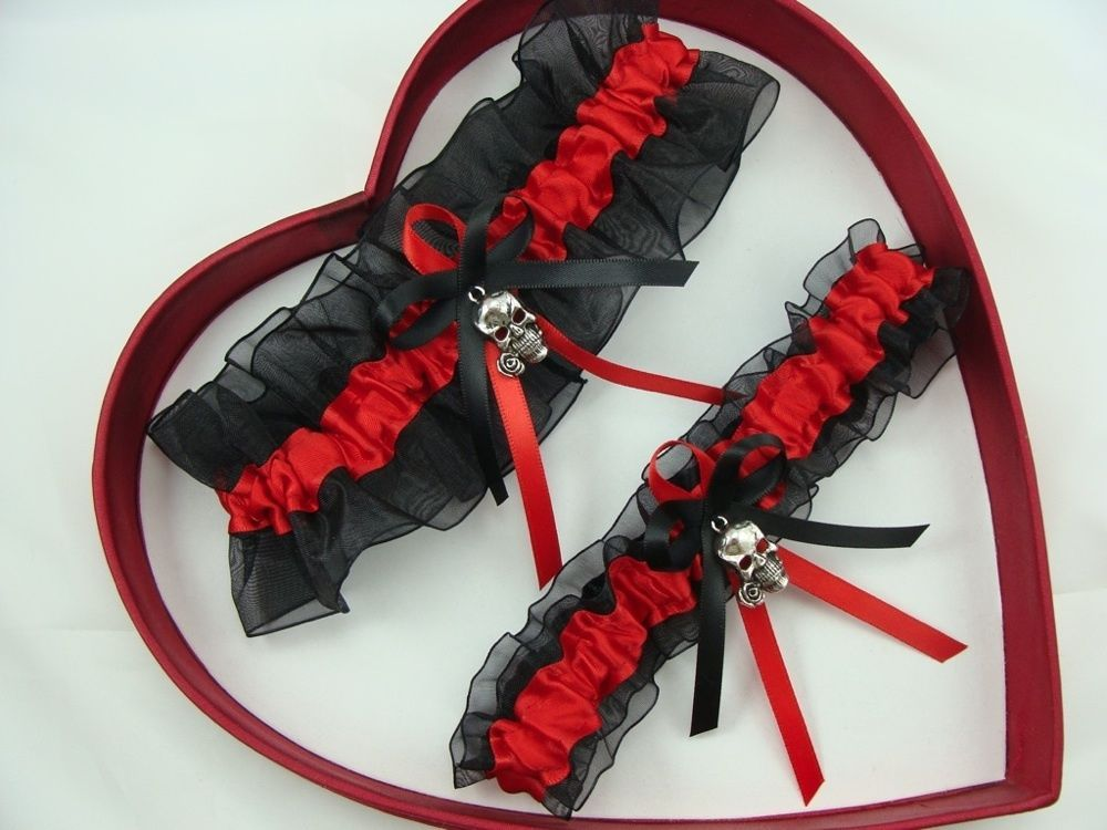 New Sexy Red Black Wedding Ceremony Biker Garter Skull w/ Rose Prom