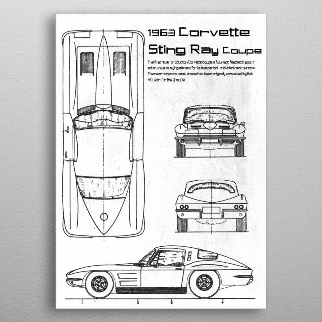 1963 Corvette Sting Ray by FARKI15 DESIGN | metal posters - Displate | Displate thumbnail
