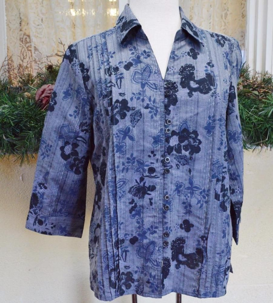 Christopher Banks Pintuck Floral Blouse Shirt M Boho Fun Party Jeans Cute Comfy #ChristopherBanks #Blouse #Casual